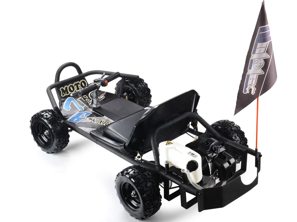 MotoTec SandMan Go Kart 49cc Black Gas-Oil 20 Mi/Tank 30 MPH Kids ...