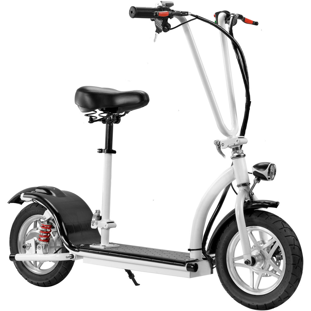 Details about MotoTec 36v 350w Lithium Folding Electric Scooter White  Maximum Rider 250 lbs